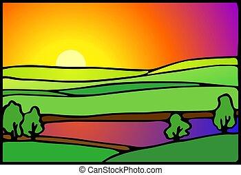 wetlands, pôr do sol