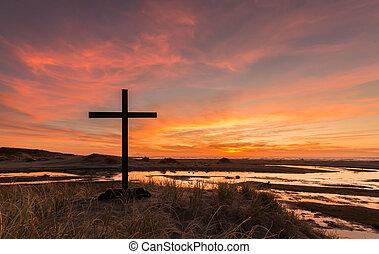 wetlands, pôr do sol, crucifixos