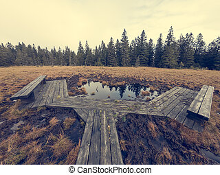 Wetlands with wooden boardwalk next to lake enabling turists a visit.