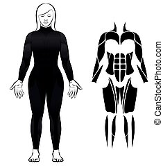 wetsuit, buceo, mujer, juego negro