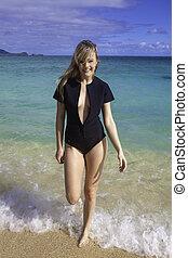 wetsuit, niña, playa