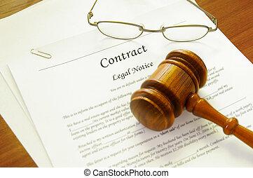 wettelijk contract, en, wet, gavel