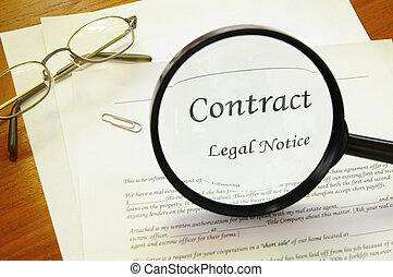 wettelijk contract, met, vergrootglas, en, bril