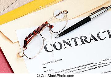 wettelijk contract, papieren, wet