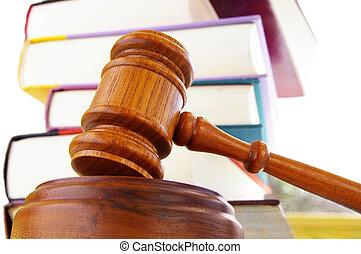 wettelijk, gavel, en, wet boeekt, op wit