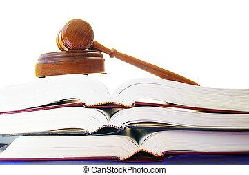 wettelijk, gavel, op, een, stapel, van, wet boeekt