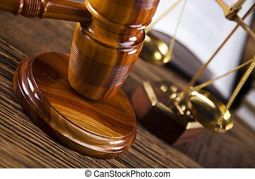 wettelijk, gavel, op, een, wet boek