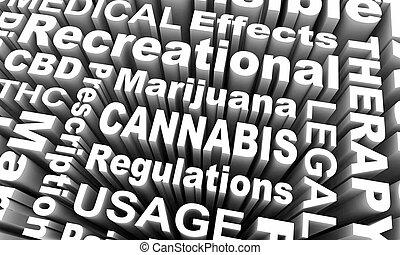 wettelijk, thc, gebruik, recreatief, cannabis, cbd, illustratie, marihuana, 3d