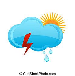 wetter, regnen wolke, und, sonne, symbol