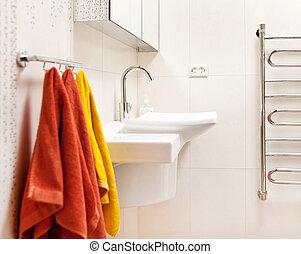 wewnętrzny, łazienka, nowoczesny, zatonąć