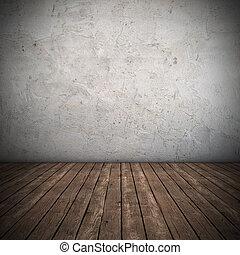 wewnętrzny, ściana, brudny, opróżniać