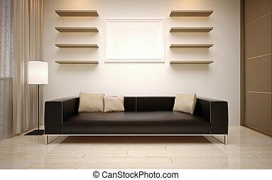 wewnętrzny, żyjący, nowoczesny pokój, design.