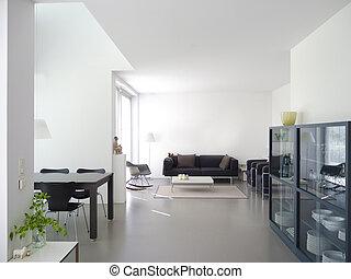wewnętrzny, żyjący, nowoczesny pokój, jadalny