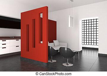 wewnętrzny, żyjący, nowoczesny pokój, kuchnia