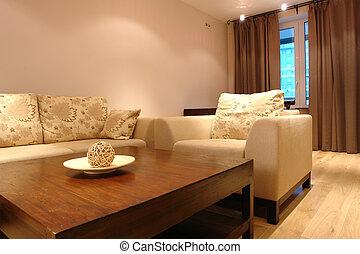 wewnętrzny, żyjący, styl, nowoczesny pokój