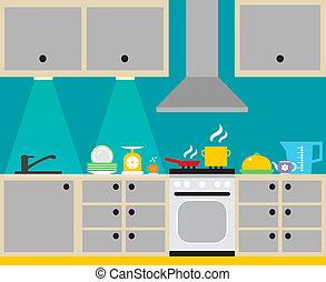 wewnętrzny, afisz, kuchnia