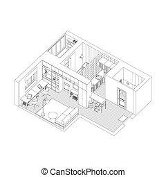 wewnętrzny, apartment., rysunek