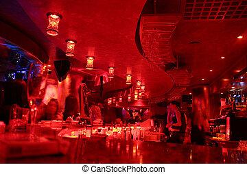 wewnętrzny, bar, czerwony