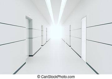 wewnętrzny, biały, korytarz