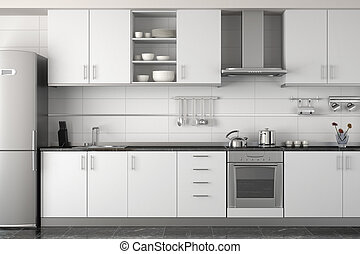 wewnętrzny, biały, nowoczesny, projektować, kuchnia