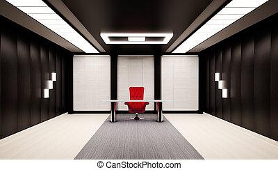 wewnętrzny, biuro, 3d