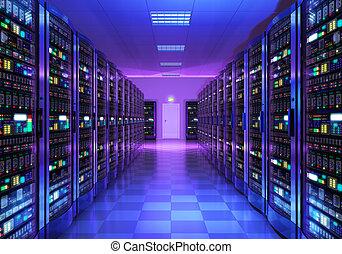 wewnętrzny, datacenter, pokój, urządzenie obsługujące