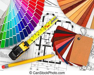 wewnętrzny, design., architektoniczny, materiały, narzędzia,...