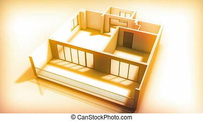 wewnętrzny, dom, budować