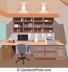 wewnętrzny, dom, nowoczesny, biuro, desktop