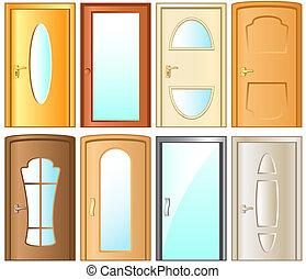 wewnętrzny, dom, nowoczesny, drzwi, zbiór