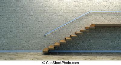 wewnętrzny, drewno, schody, opróżniać