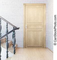 wewnętrzny, drzwi, schody