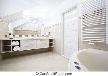 wewnętrzny, elegancki, łazienka, obszerny