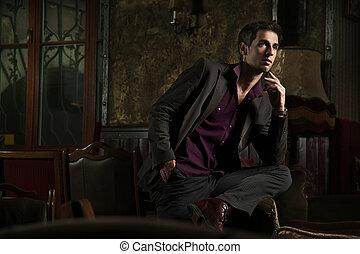 wewnętrzny, elegancki, człowiek, przedstawianie, szykowny