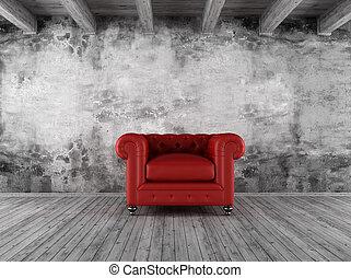 wewnętrzny, fotel, grunge, czerwony