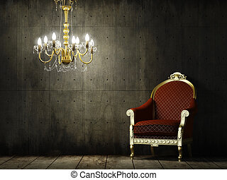 wewnętrzny, fotel, grunge, pokój, klasyk
