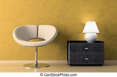 wewnętrzny, fotel, nowoczesny, żółty