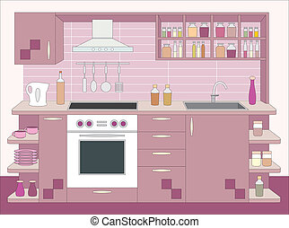 wewnętrzny, furniture., kuchnia