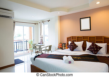 wewnętrzny, hotel, nowoczesny pokój, wygodny