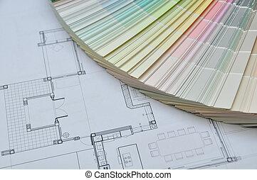 wewnętrzny, i, architektoniczny, rysunek, z, kolor, i, tworzywo, samp