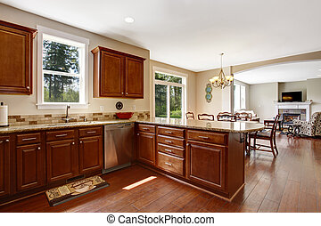 wewnętrzny, jadalny, kuchnia, pokój, powierzchnia