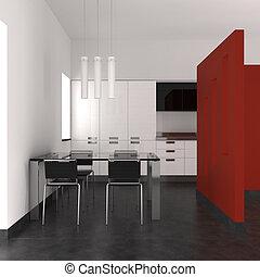 wewnętrzny, jadalny, nowoczesny pokój, kuchnia
