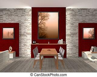 wewnętrzny, jadalny, nowoczesny pokój