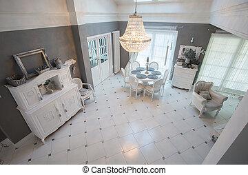 wewnętrzny, jadalny, wnętrze, pokój, miejsce zamieszkania
