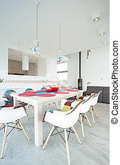 wewnętrzny, jadalny, wnętrze, pokój, projektowany