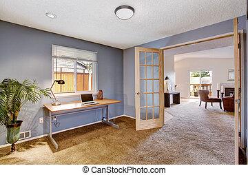 wewnętrzny, lekki, pokój, biuro, lawenda