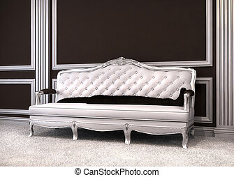 wewnętrzny, luksusowy, sofa, klasyczny