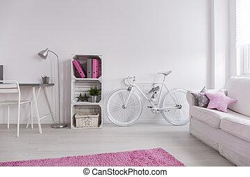 wewnętrzny, minimalista, biały