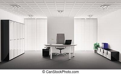 wewnętrzny, nowoczesny, biuro, 3d