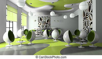 wewnętrzny, nowoczesny, kawiarnia
